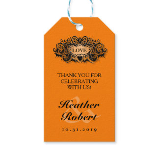 Halloween Wedding Gothic Bold Love Thank You Tag