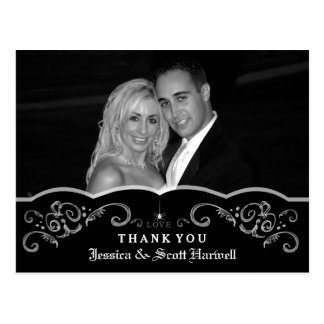 Halloween Wedding Gothic Scroll Photo Thank You Postcard