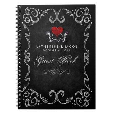 Halloween Themed Halloween Wedding Guest Book Skeletons & Red Heart