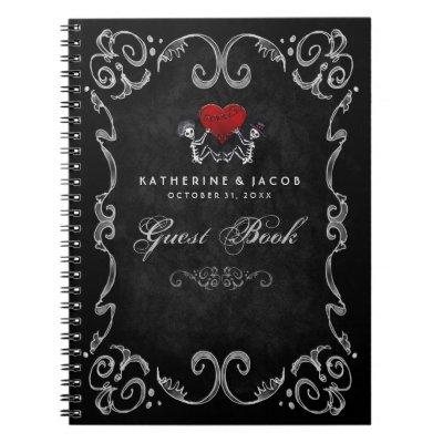 Halloween Wedding Guest Book Skeletons & Red Heart