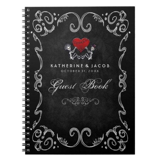 Halloween Wedding Gift Ideas: Halloween Wedding Guest Book Skeletons & Red Heart