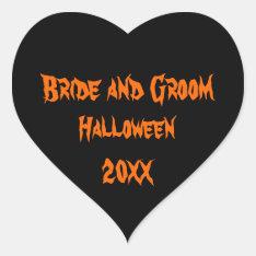 Halloween Wedding Heart Sticker at Zazzle