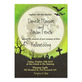 Halloween wedding invitation in green with moon