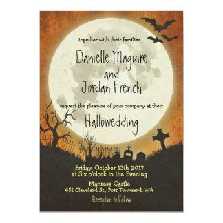 Halloween wedding invitation in orange with moon