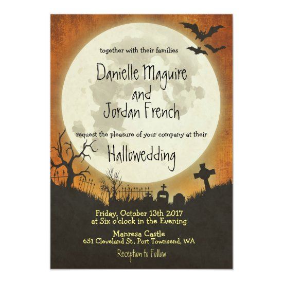 Halloween wedding invitation in orange with moon