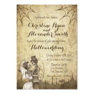 Amazing Halloween Wedding Invitation With Skeleton Couple