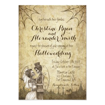 Halloween Themed Halloween Wedding Invitation with Skeleton Couple