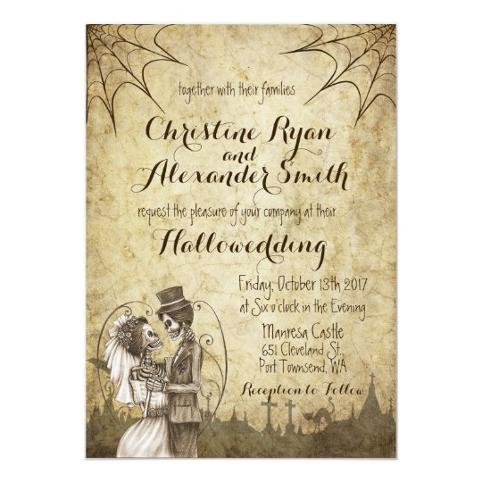 Halloween Wedding Invitation With Skeleton Couple Zazzle Com