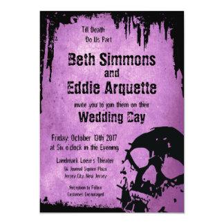 Lovely Halloween Wedding Invitation With Skull