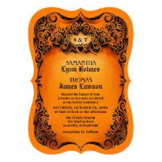 Halloween Wedding Invite - Orange & Black Border at Zazzle