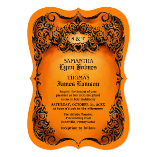 Halloween Wedding Invite - Orange & Black Border