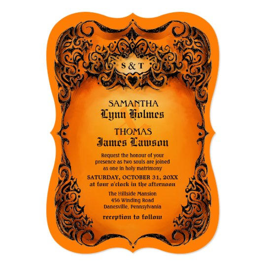 Wedding Invite Orange Black Border
