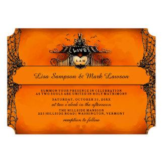 Halloween Wedding Invite - Orange Black Love Personalized Invite