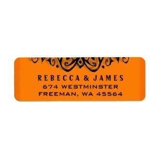 Halloween Wedding Label - Orange & Black