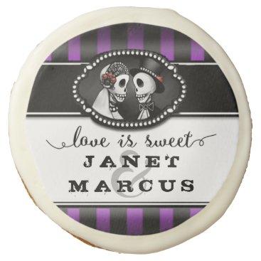 Halloween Themed Halloween Wedding Love is Sweet Skeletons Purple Sugar Cookie