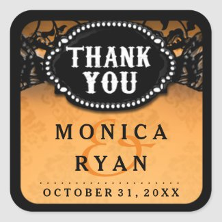 Halloween Wedding Orange Black Lace Thank You