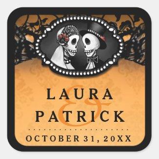 Halloween Wedding Orange Black Skeletons Square