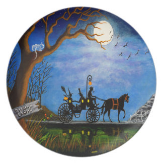 "Halloween wedding party plate""Halloween Honeymoon"" Melamine Plate"
