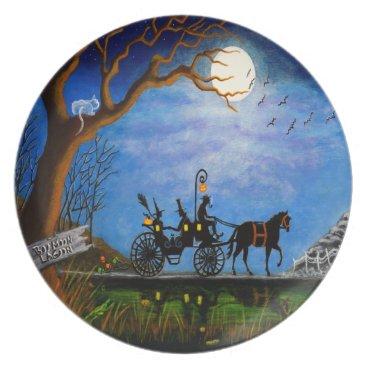 "Halloween Themed Halloween wedding party plate""Halloween Honeymoon"" Melamine Plate"