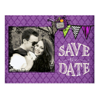 Halloween Wedding Photo Save the Date Postcard