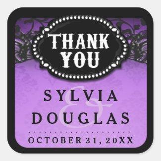 Halloween Wedding Purple Black Lace Thank You