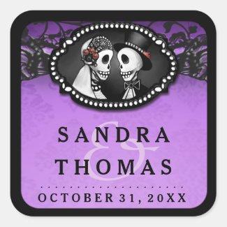 Halloween Wedding Purple Black Skeletons Name Date