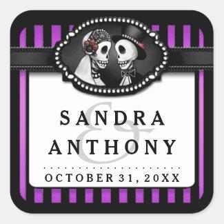 Halloween Wedding Purple Black Striped Skeletons