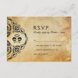 Halloween Wedding RSVP - Skull & Crossbones