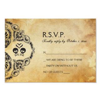 Halloween Wedding RSVP - Skull & Crossbones Card