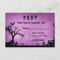 Halloween Wedding RSVP with spooky tree and crow