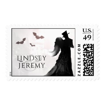 Halloween Themed Halloween Wedding Silhouette Lovers Names Postage