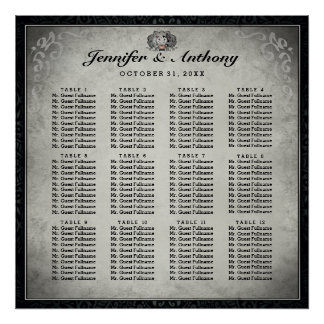 Halloween Wedding Skeletons Gray Seating Chart Poster