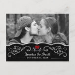 🎃  Halloween Wedding Skeletons Heart Photo Save Date Announcement Postcard