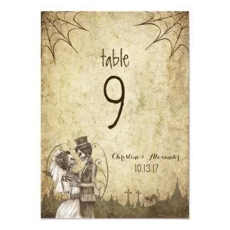 Halloween Wedding Table number Skeleton Couple