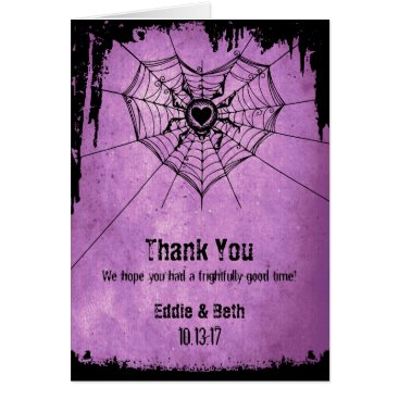Halloween Themed Halloween Wedding Thank You Card with spider