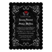 """Halloween Wedding """"TIL DEATH"""" Skeletons & Heart Card"""