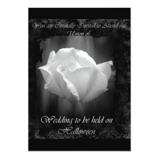 Halloween Wedding-White Rose Invitation