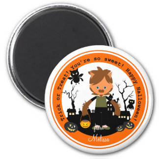 Halloween werewolf  kid goes trick or treating magnet