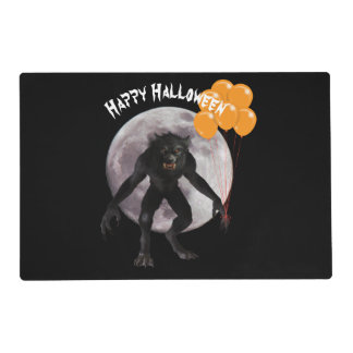 Halloween Werewolf With Balloons Placemat
