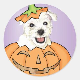 Halloween Westie Classic Round Sticker