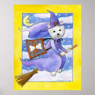 Halloween Westie Dog Poster