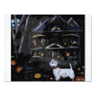 Halloween Westie Haunted house Card