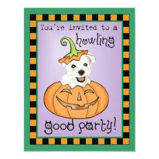 """Halloween Westie Invitación 4.25"""" X 5.5"""""""