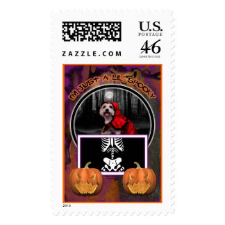 Halloween - Westie - Lady Postage Stamps