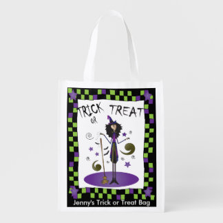 Halloween Whimsical Witch Illustration Grocery Bag