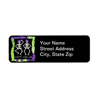 Halloween Whimsy Dancing Skeletons Black Purple Label