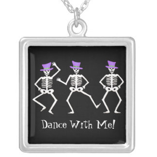 Halloween Whimsy Dancing Skeletons Personalized Square Pendant Necklace