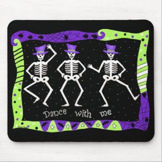 Halloween Whimsy Dancing Skeletons Purple Top Hat Mouse Pad