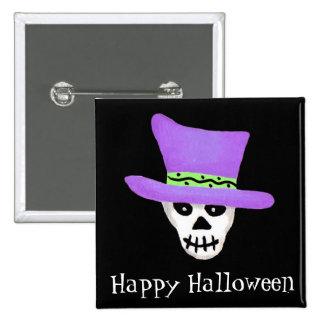 Halloween Whimsy Skeleton Skull Happy Halloween Button