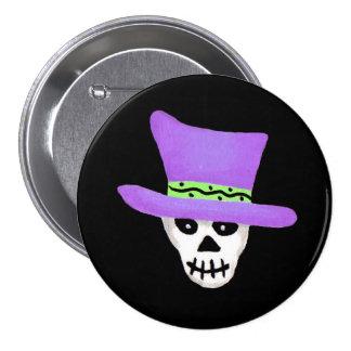 Halloween Whimsy Skeleton Skull Pin Badge